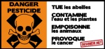 Lot de 10 autocollants Danger Pesticide (grands)