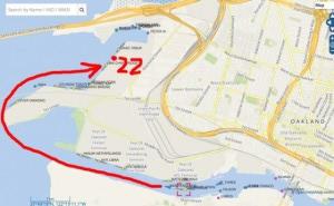Capture d'écran du site Marine Traffic montrant la trajectoire du Zim Pirraeus quittant la Baie de San Francisco mardi à 17h05.